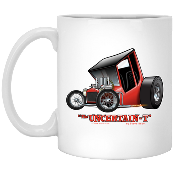 """The Uncertain-T"" Famous Hot Rod Design #01 on 11 oz. White Mug"