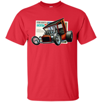 """The Uncertain-T"" Famous Hot Rod Tee Shirt design #9 on Red Tee"