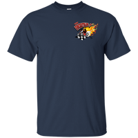 """The Uncertain-T"" Famous Hot Rod Tee Shirt design #13 front, #15 back on Navy Tee"