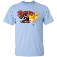 """The Uncertain-T"" Famous Hot Rod Tee Shirt design #11 on Light Blue Tee"