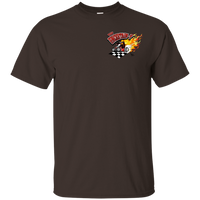 """The Uncertain-T"" Famous Hot Rod Tee Shirt design #13 front, #15 back on Dark Chocolate Tee"