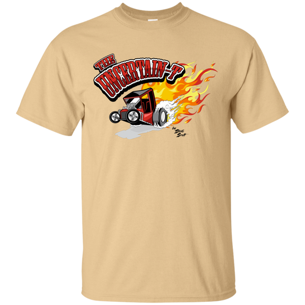 """The Uncertain-T"" Famous Hot Rod Tee Shirt design #12 on Vegas Gold Tee"