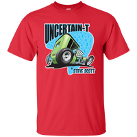 """The Uncertain-T"" Famous Hot Rod Tee Shirt design #7 on Red Tee"