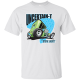 """The Uncertain-T"" Famous Hot Rod Tee Shirt design #7 on White Tee"