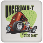 Uncertain-T Design #08 on a Cork Backed Coaster