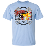"""The Uncertain-T"" Famous Hot Rod Tee Shirt design #15 on Light Blue Tee"