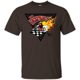 """The Uncertain-T"" Famous Hot Rod Tee Shirt design #14 on Dark Chocolate Tee"