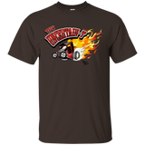 """The Uncertain-T"" Famous Hot Rod Tee Shirt design #11 on Dark Chocolate Tee"