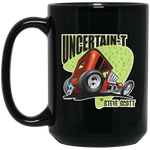 """The Uncertain-T"" Famous Hot Rod Design #08 on 15 oz. Black Mug"