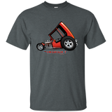 """The Uncertain-T"" Famous Hot Rod Tee Shirt design #3 on Dark Heather Tee"