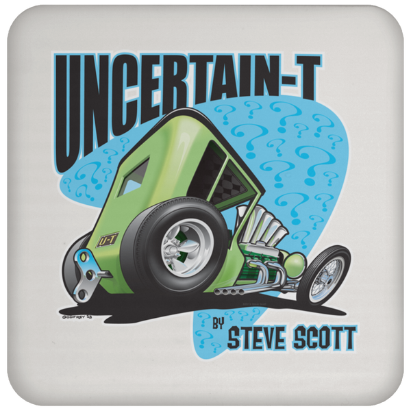 Uncertain-T Design #07 on a Cork Backed Coaster