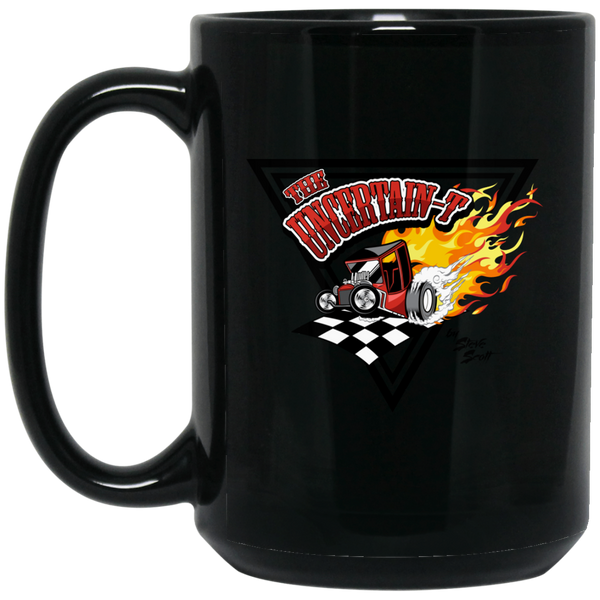 """The Uncertain-T"" Famous Hot Rod Design #14 on 15 oz. Black Mug"