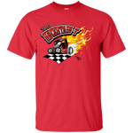 """The Uncertain-T"" Famous Hot Rod Tee Shirt design #13 on Red Tee"