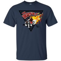 """The Uncertain-T"" Famous Hot Rod Tee Shirt design #14 on Navy Tee"