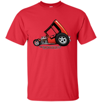 """The Uncertain-T"" Famous Hot Rod Tee Shirt design #3 on Red Tee"