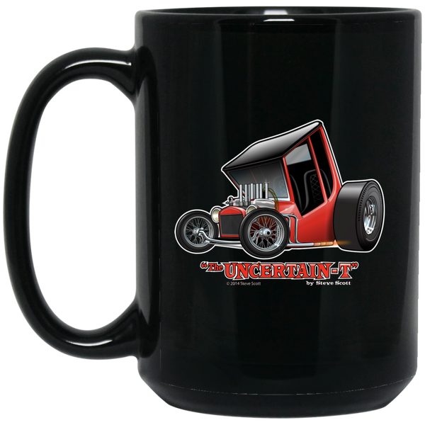 """The Uncertain-T"" Famous Hot Rod Design #01 on 15 oz. Black Mug"
