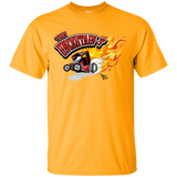 """The Uncertain-T"" Famous Hot Rod Tee Shirt design #12 on Gold Tee"