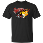 """The Uncertain-T"" Famous Hot Rod Tee Shirt design #11 on Black Tee"