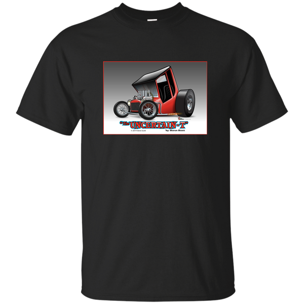 """The Uncertain-T"" Famous Hot Rod Tee Shirt design #2 on Black Tee"