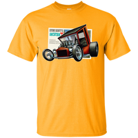 """The Uncertain-T"" Famous Hot Rod Tee Shirt design #9 on Gold Tee"