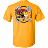 """The Uncertain-T"" Famous Hot Rod Tee Shirt design #13 front, #15 back on Gold Tee"