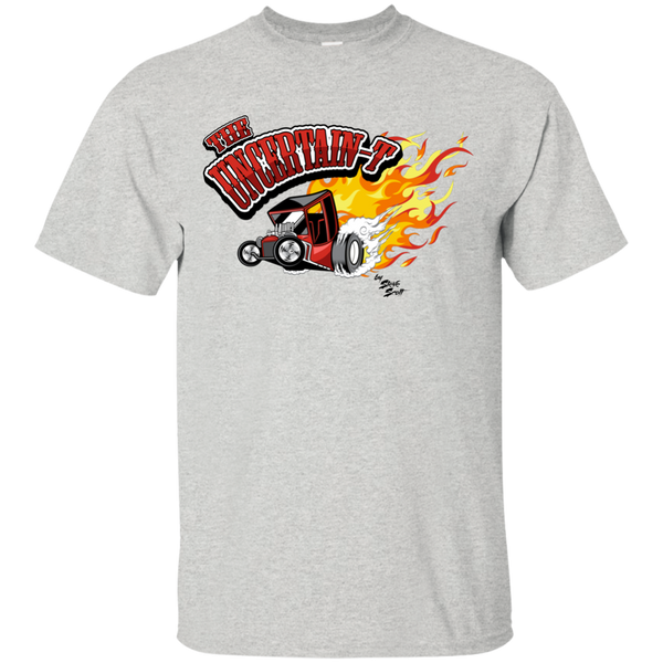 """The Uncertain-T"" Famous Hot Rod Tee Shirt design #11 on Ash Tee"