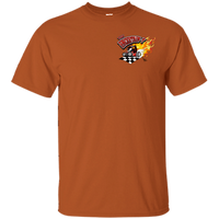 """The Uncertain-T"" Famous Hot Rod Tee Shirt design #13 front, #15 back on Texas Orange Tee"