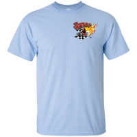 """The Uncertain-T"" Famous Hot Rod Tee Shirt design #13 front, #15 back on Light Blue Tee"