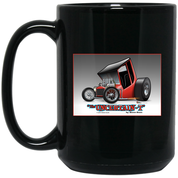 """The Uncertain-T"" Famous Hot Rod Design #02 on 15 oz. Black Mug"