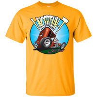 """The Uncertain-T"" Famous Hot Rod Tee Shirt design #6 on Gold Tee"