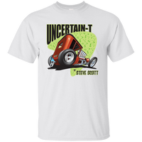 """The Uncertain-T"" Famous Hot Rod Tee Shirt design #8 on White Tee"