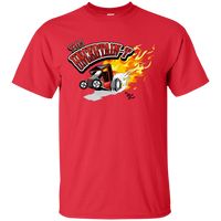 """The Uncertain-T"" Famous Hot Rod Tee Shirt design #12 on Red Tee"