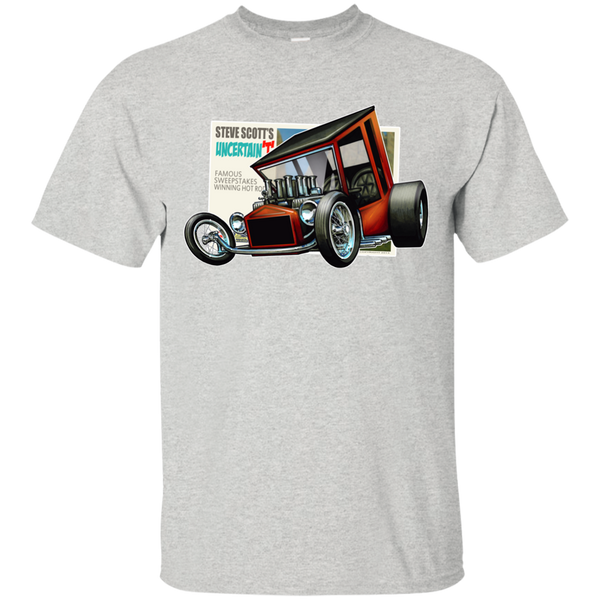 """The Uncertain-T"" Famous Hot Rod Tee Shirt design #9 on Ash Tee"