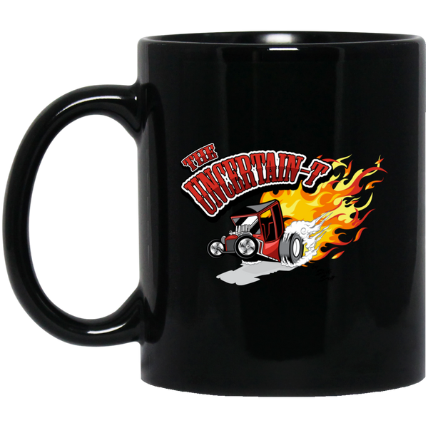 """The Uncertain-T"" Famous Hot Rod Design #12 on 11 oz. Black Mug"