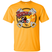 """The Uncertain-T"" Famous Hot Rod Tee Shirt design #15 on Gold Tee"