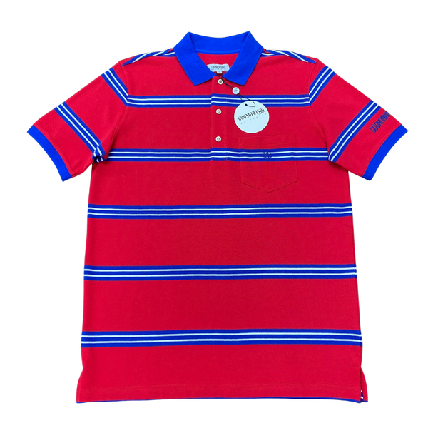 100% Cotton Multi Stripe Mens Polo with Pocket Red Royal Blue White