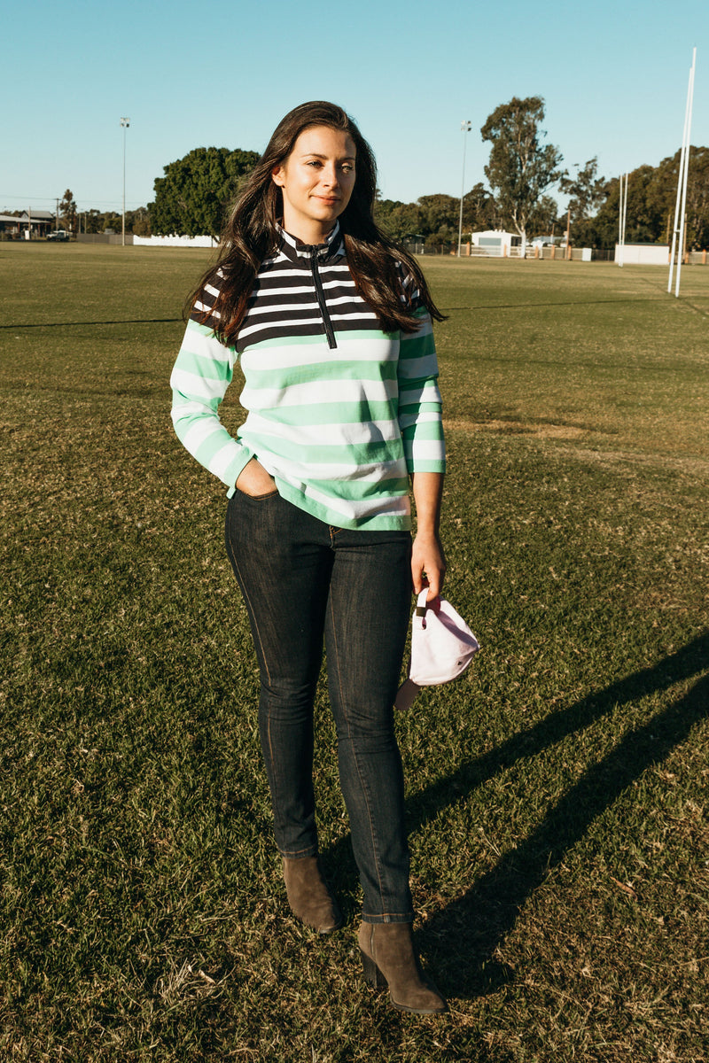 Navy / White / Green Multi Stripe 100% Pima Cotton Zip Rugby Top