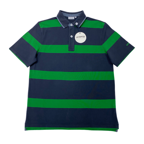 Green / Navy 100% Cotton Mens Polo