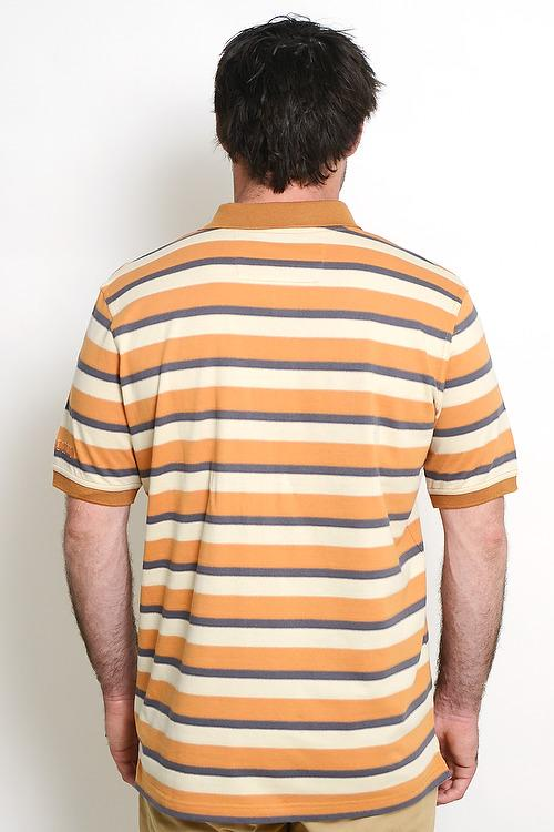 Beige White Mustard 100% Cotton Multi Stripe Mens Polo with Pocket