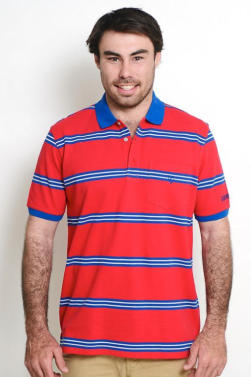Red Royal Blue White 100% Cotton Multi Stripe Mens Polo with Pocket