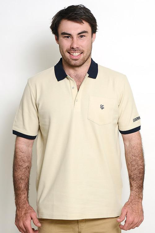 Beige 100% Cotton Mens Polo with Pocket