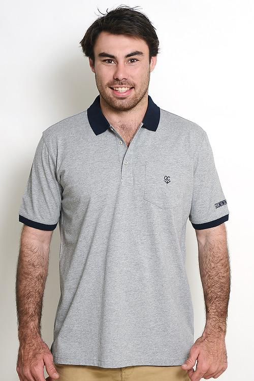 Light Grey 100% Cotton Mens Polo with Pocket