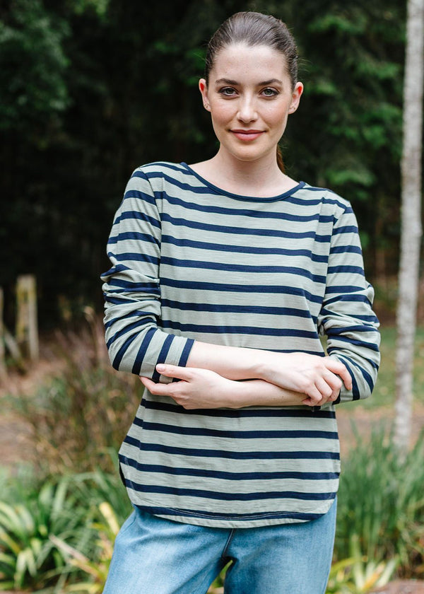 Navy / Khaki 100% Cotton Long Sleeve Stripe Tee