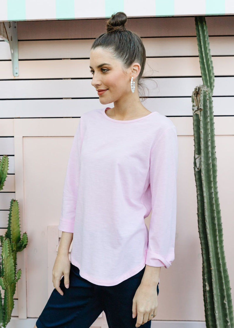 Pale Pink 100% Cotton 3/4 Sleeve Tee Shirt