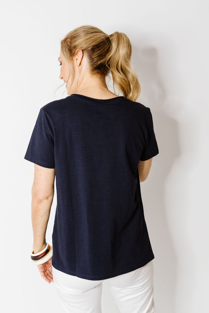 Navy 100% Cotton V Neck Tee Shirt