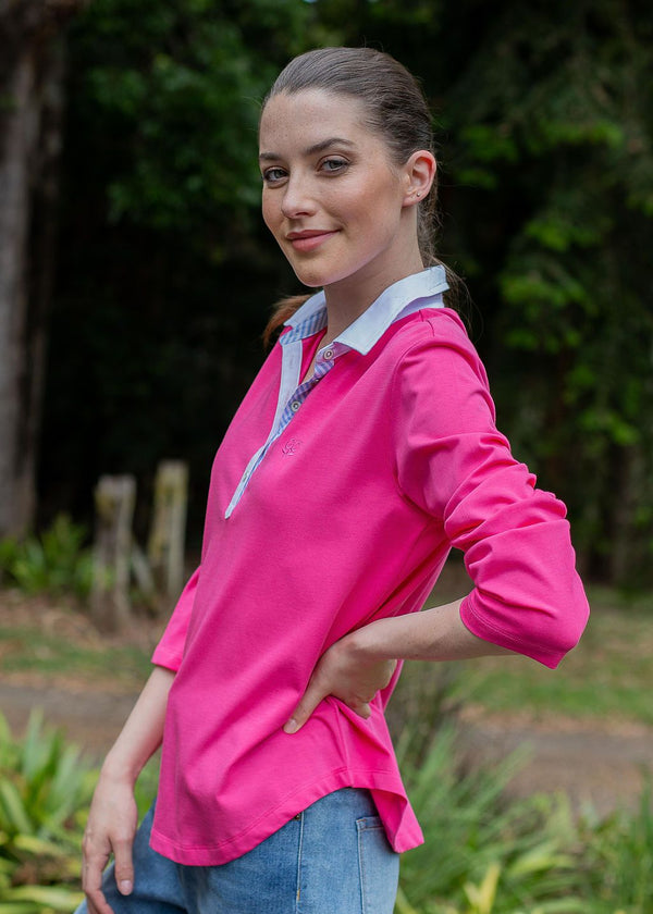 Hot Pink 100% Cotton Long Sleeve Polo