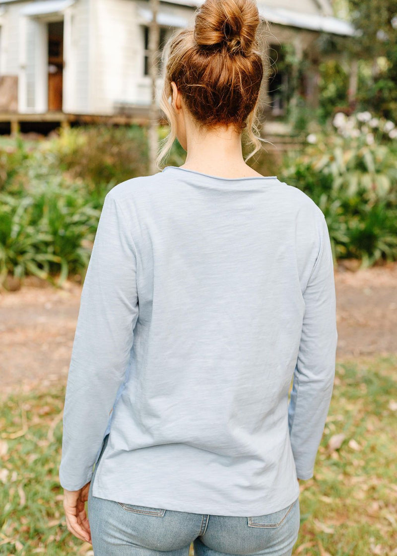 Pale Blue 100% Cotton Slub V Neck Long Sleeve Tee Shirt