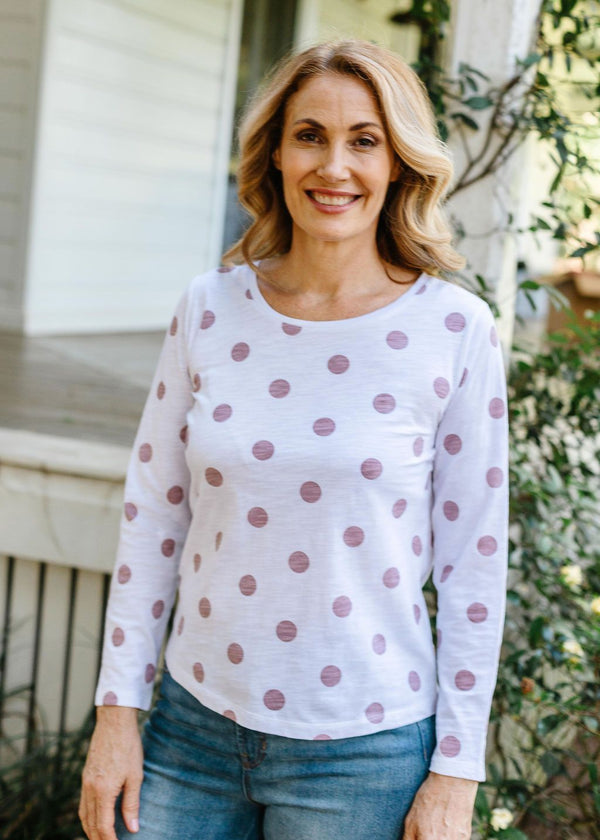 White / Dusty Pink 100% Cotton Spot Print Long Sleeve Tee Shirt
