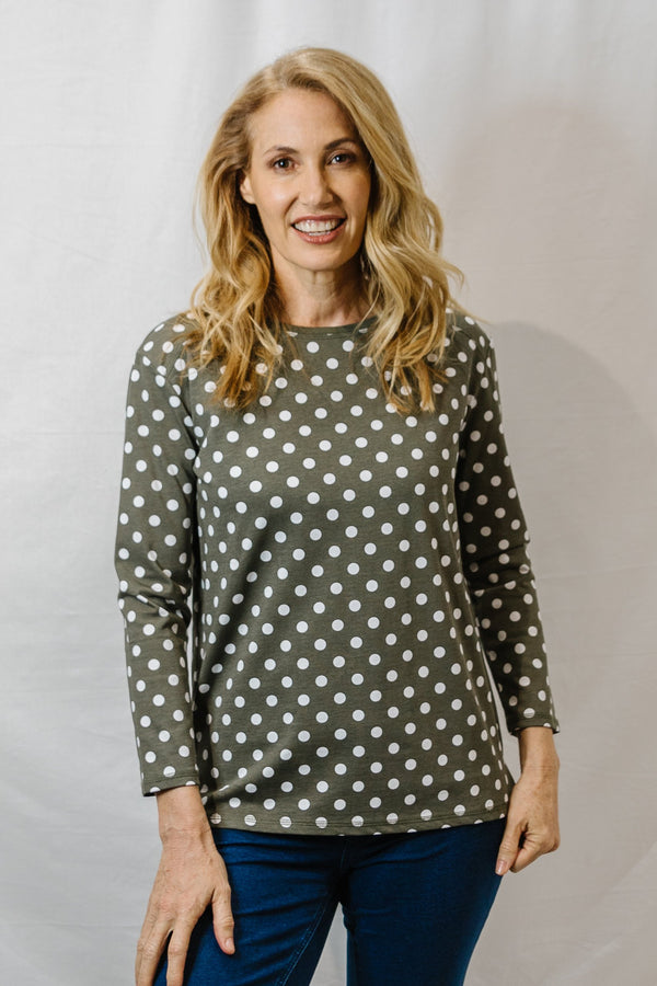 Dusty Olive / White 100% Cotton Dot Print Long Sleeve Tee Shirt