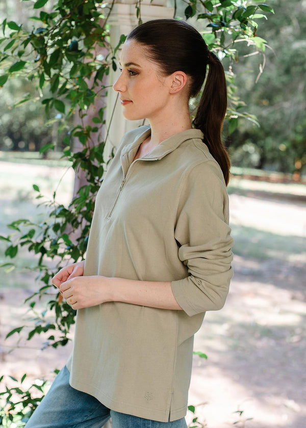 Khaki 100% Cotton Zip Rugby Top